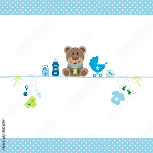 Brown Teddy & Boy Baby Symbols Dots Border - 183765904