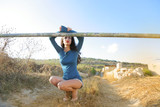 Beautiful model in the countryside - 183766174