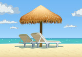 Ocean beach with umbrella and bed. Vector illustration.