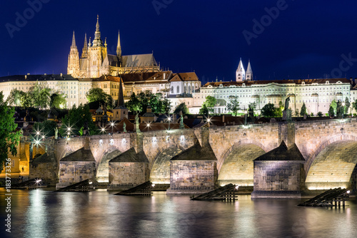 Charles bridge and St. Vitus Cathedral in Prague - Czech republic