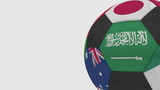 Football ball featuring different national teams accents flag of Saudi Arabia. 3D rendering - 183774713