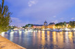 Paris at night along Seine river