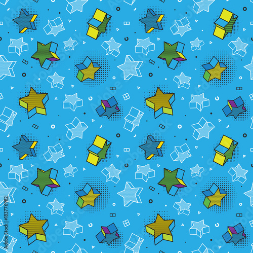 Staande foto Pop Art Vector seamless pattern, colorful pattern with 3d graphic elements. You can use this as a wallpaper in a childrens room