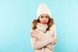Portrait of a frozen cute girl