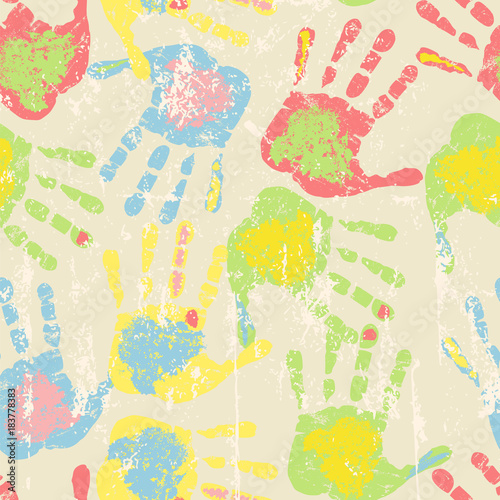 Prints of hands, seamless pattern, vector illustration