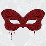 Red masquerade mask in the shape of a butterfly with pendants - 183781928