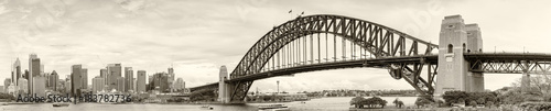 SYDNEY - NOVEMBER 7, 2015: Sydney Harbour Bridge on a cloudy day. The city is visited by more than 15 million people annually