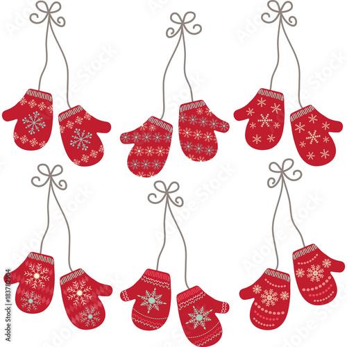 Fototapeta Mittens Gloves Seamless.Winter Holidays with Snowflakes Pattern.Winter Gloves.Vector illustration