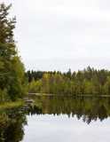 Autumn view in Finland. Calm waters with reflections from the forest. - 183783116