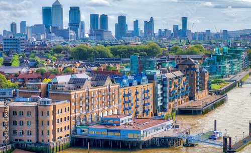 Plexiglas London London, UK. City skyline along river Thames