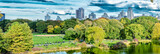 Airplanes flying over Central park in New York. Tourism concept - 183786984