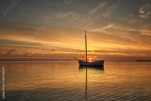 Poster Zee zonsondergang Baltic Sea. Poland, Kuznica