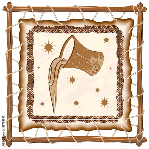 Keuken foto achterwand Draw Aquarius Zodiac Sign on Native Tribal Leather Frame