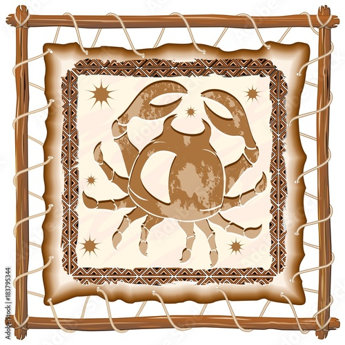 Foto op Canvas Draw Cancer Zodiac Sign on Native Tribal Leather Frame