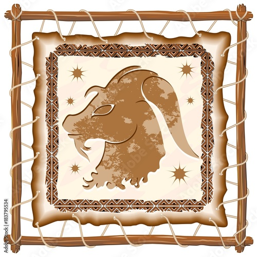 Foto op Canvas Draw Capricorn Zodiac Sign on Native Tribal Leather Frame