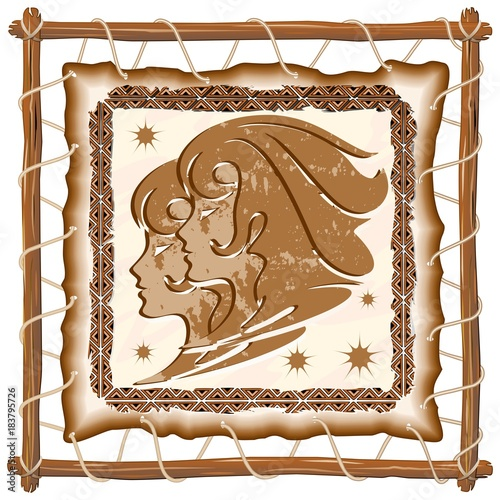 Foto op Canvas Draw Gemini Zodiac Sign on Native Tribal Leather Frame