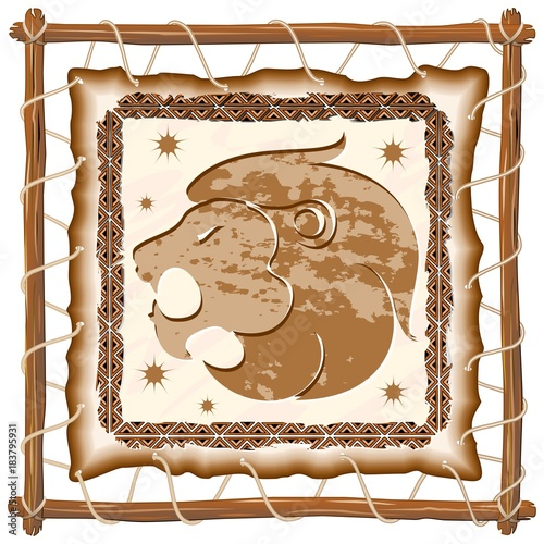 Foto op Canvas Draw Leo Zodiac Sign on Native Tribal Leather Frame