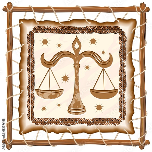 Foto op Canvas Draw Libra Zodiac Sign on Native Tribal Leather Frame
