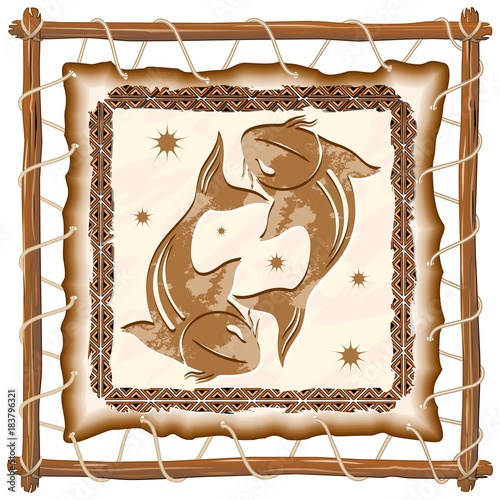 Poster Draw Pisces Zodiac Sign on Native Tribal Leather Frame