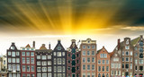 Beautiful view of Amsterdam with typical dutch houses. Holland - 183797380