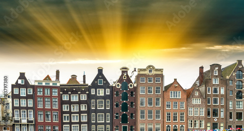 Keuken foto achterwand Amsterdam Beautiful view of Amsterdam with typical dutch houses. Holland