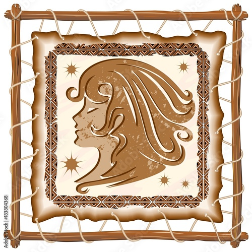 Foto op Canvas Draw Virgo Zodiac Sign on Native Tribal Leather Frame