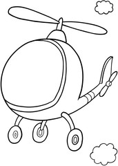 Cute Helicopter Vector Illustration Art