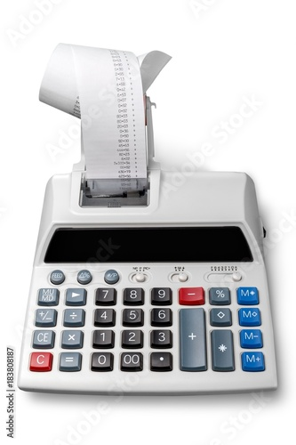 Printing Calculator with Paper Tape Rolled Up - 183808187