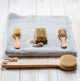 eco-friendly hygiene still life with dry brushing accessories - 183809383