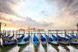 Quadro Gondolas with San Giorgio Maggiore church at sunrise in Venice, Italy