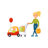 Young woman pushing supermarket cart with some goods and kid sitting in a car of shopping cart cartoon vector illustration