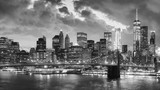 Black and white picture of Manhattan at night, New York, USA.
