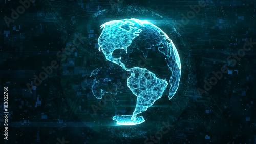 Digital abstract globe made of plexus glowing lines. Business technology structure of the blue lines, dots and particles. North and South America continents. 3d rendering
