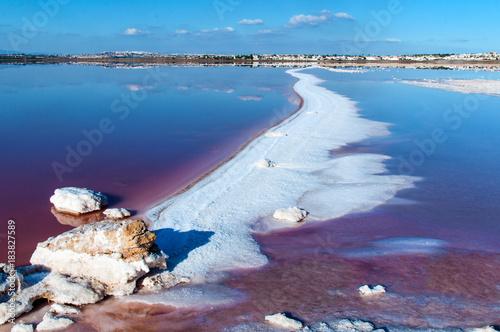 Pink salty lake of Torrevieja. Spain