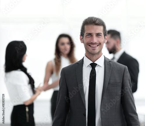 Staande foto Hoogte schaal portrait of confident businessman