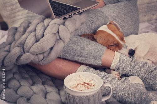 Cozy home, warm blanket, hot drink, movie night Poster