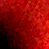 Geometrical abstract regular triangle background - trendy mosaic vector graphic design with red triangles on black background - 183836335