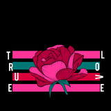 True Love Slogan with pink rose. Vector patch for fashion apparels, t shirt, stickers, embroidery and printed tee design.