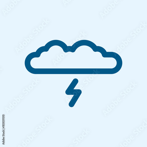 Cloud Storm Rain Weather Minimalistic Flat Line Outline Stroke Icon Pictogram Symbol