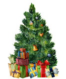 Watercolor Christmas tree with giftboxes. Hand painted pine tree with presents, toys, bells and garlands isolated on white background. Holiday symbol. For design or print. - 183841974