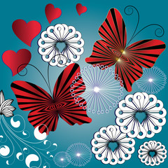 Vector butterflies pattern. Floral blue vector background with red black decorative striped radial butterflies, love hearts and white flowers .
