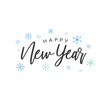 Happy New Year Calligraphy Vector Text With Colorful Hand Drawn Snowflakes Over White Background