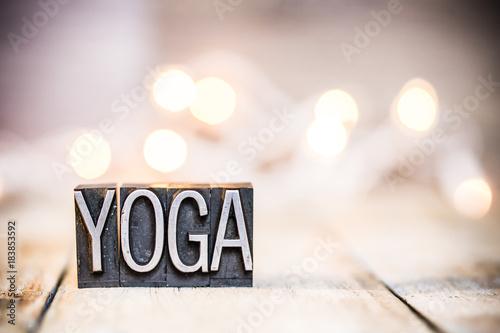 Naklejka Yoga Concept Vintage Letterpress Type Theme