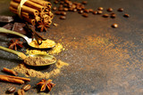 Food background with oriental spices. - 183856363