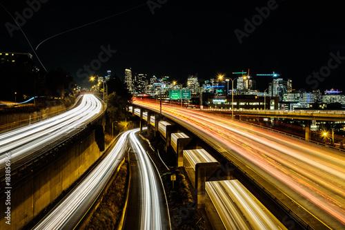 Foto op Aluminium Nacht snelweg Evening commute, evening lights