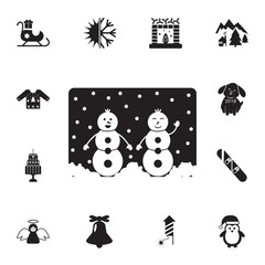 Postcard for the New Year and Christmas with snowmen icon. Set of elements Christmas Holiday or New Year icons. Winter time premium quality graphic design collection icons