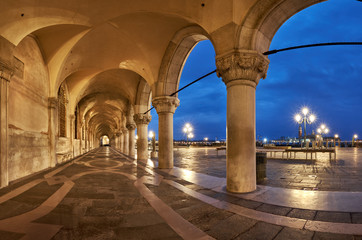 Ancient arches of Doge's Palace St. Marc Square in Venice, Italy