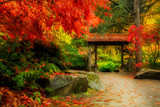 Wooden Japanese Gate and lush fall foliage in Kuobota Garden, Seattle - 183880362