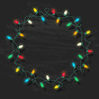 Circle frame of glowing colorful Christmas lights on chalkboard background. Gradient free vector illustration for greeting cards, banners, design templates.