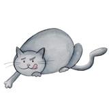 Watercolor illustration cartoon character funny hunter grey fat cat